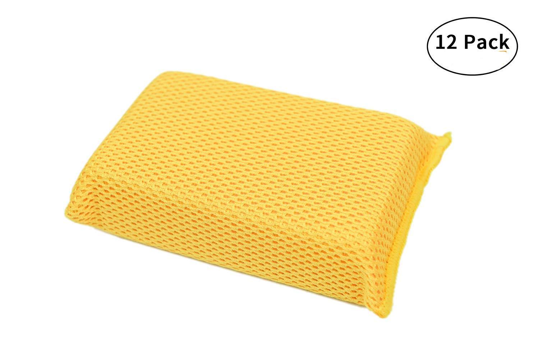 Carcarez Professional Car Care Soft Microfiber Bug & Mesh Sponge Pad, Large size:1.75''x3.5''x6'',Pack of 12
