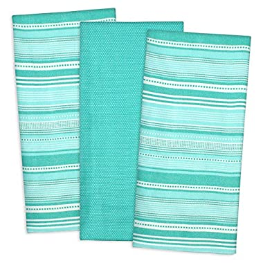 DII 100% Cotton, Machine Washable, Pre Shrunk, Everyday Kitchen Basic, Designer Inspired, Ultra Absorbent, 20x30  Urban Stripe Dishtowel Set of 3, Aqua