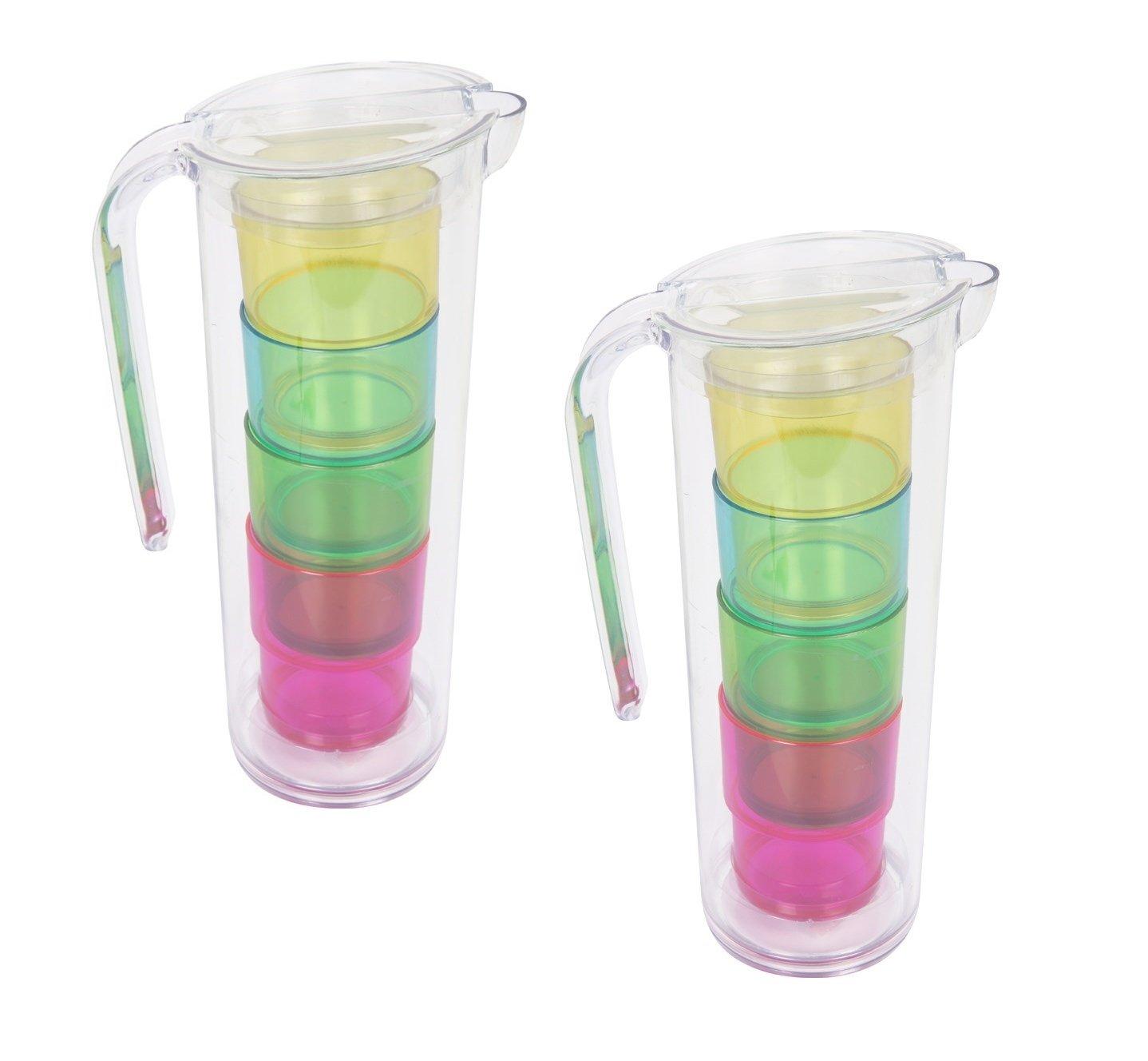 Invero/®/ party in bambini estate e pi/ù /2/x confezione di estate brocche Cup set include 2/x grande brocche e 8/x luminosi colorati tazze/ /servire bevande da giardino per eventi barbecue
