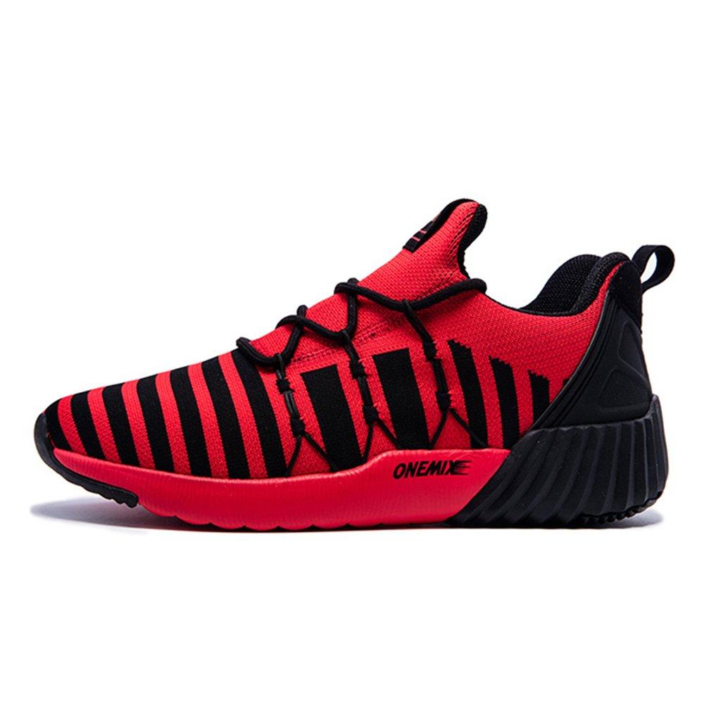 Onemix Men Lightweight Mesh Air Cushion Outdoor Sport Running Shoes 42 EU Red Black