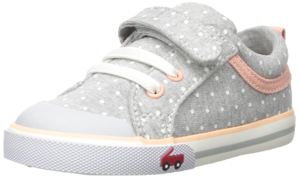See Kai Run Girls' Kristin Sneaker, Gray Jersey Dots, 8 M US