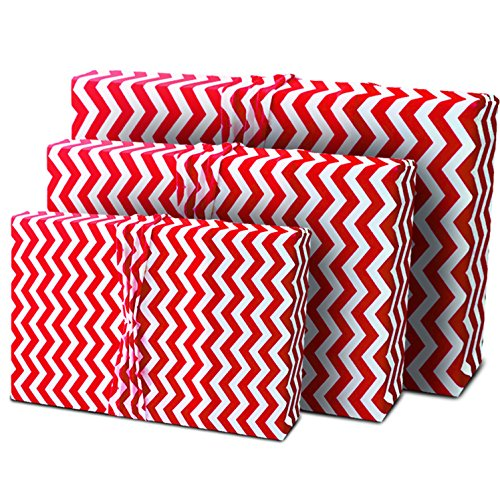 Valentine's Day Gift Wrap Cherry Red Chevron - Wrapping for Birthdays and Special Occasions - Stretchy Fabric, Reusable and Eco Friendly (3 in Size Medium) Stretches Over Different Shapes and Sizes