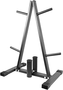 Luwint Plate Tree, 1 in Weight Plate Storage Rack with 2 Olympic Bar Holders for Home Gym