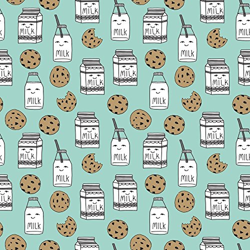 Milk And Cookies Fabric Milk And Cookies // Mint Food Kids Cute Novelty Prints by Andrea Lauren Printed on Organic Cotton Sateen Ultra Fabric by the Yard by Spoonflower (Novelty Print Fabric Cotton)