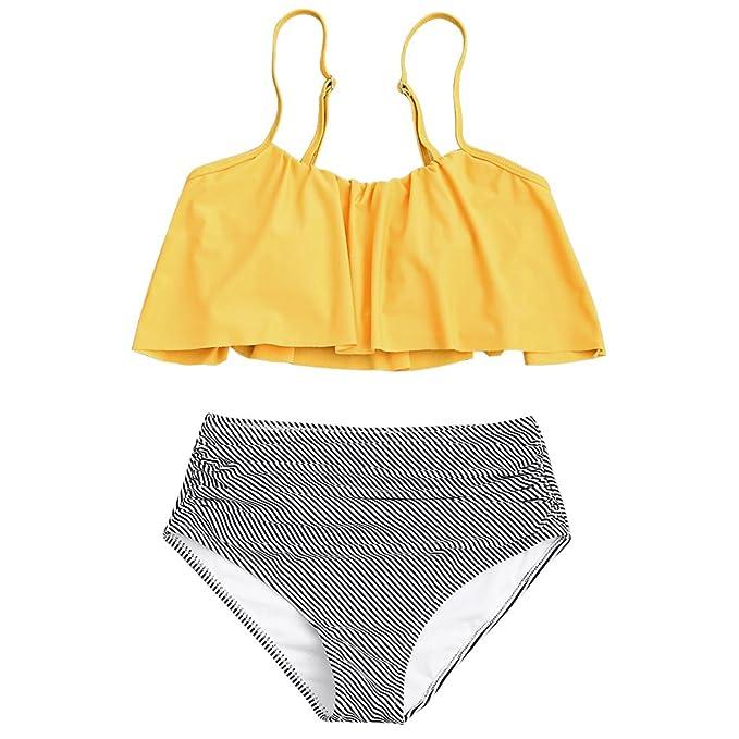 ZAFUL Conjunto de Bikini Mujer 2018 Traje de Baño Volantes Correas de Espagueti Bañador Plisado Estampado Rayas Cintura Alta Ropa de Playa Tallas ...