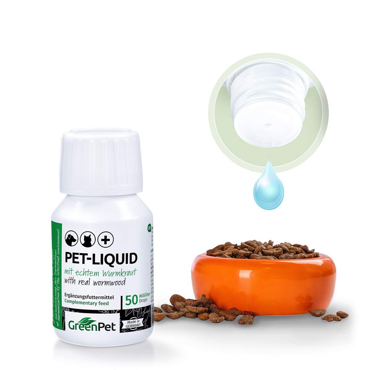 GreenPet 100% Natural Gusano (líquido Liquid Gota 50 ML - Perros, Gatos, Aves, Pájaros, Conejos y Mascotas, Antes y en Gusano y Cantar, 1 - 2 años Tarro: ...