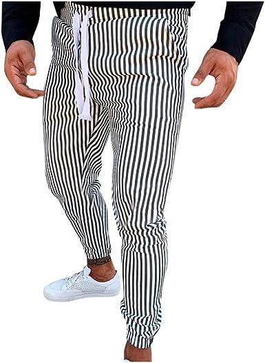 Vectry Pantalones Hombre Slim Casual Stripe Impresión Atadura ...