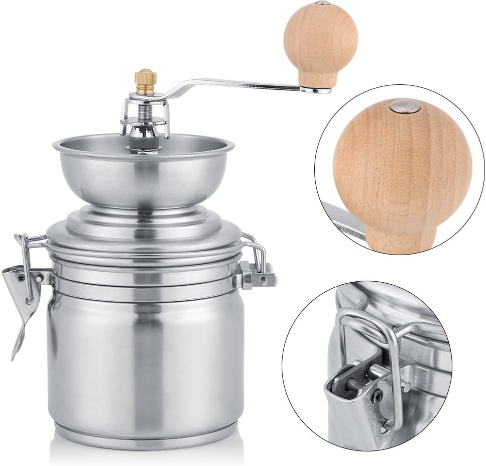 Stainless Steel Coffee Grinding Tool Manual Coffee Grinder Spice Nuts Grinding Mill Hand Tool Manual Coffee Grinder Coffee Mill Silver