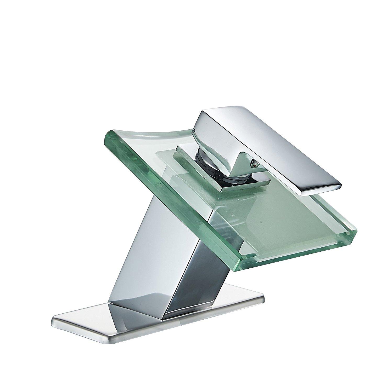 Greenspring Modern Deck Mount One Handle Waterfall Lavatory Bathroom Faucet Glass Spout Single Hole Plumbing Fixtures Unique Designer, Chrome