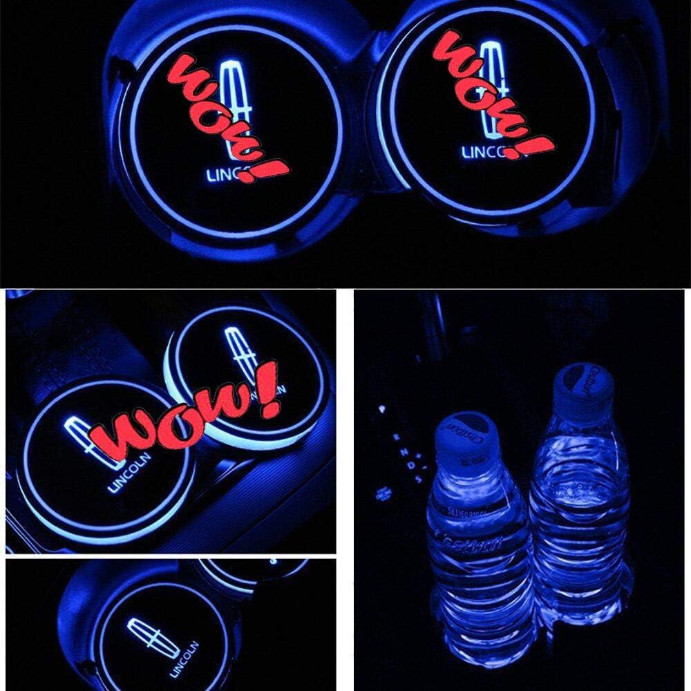 VILLSION Getr/änkehalter Auto LED Untersetzer 7 Farben USB Lade Becherhalter Lumineszenz Tasse Halter LED innenbeleuchtung Auto Atmosph/äre Lampe Dekoration Licht