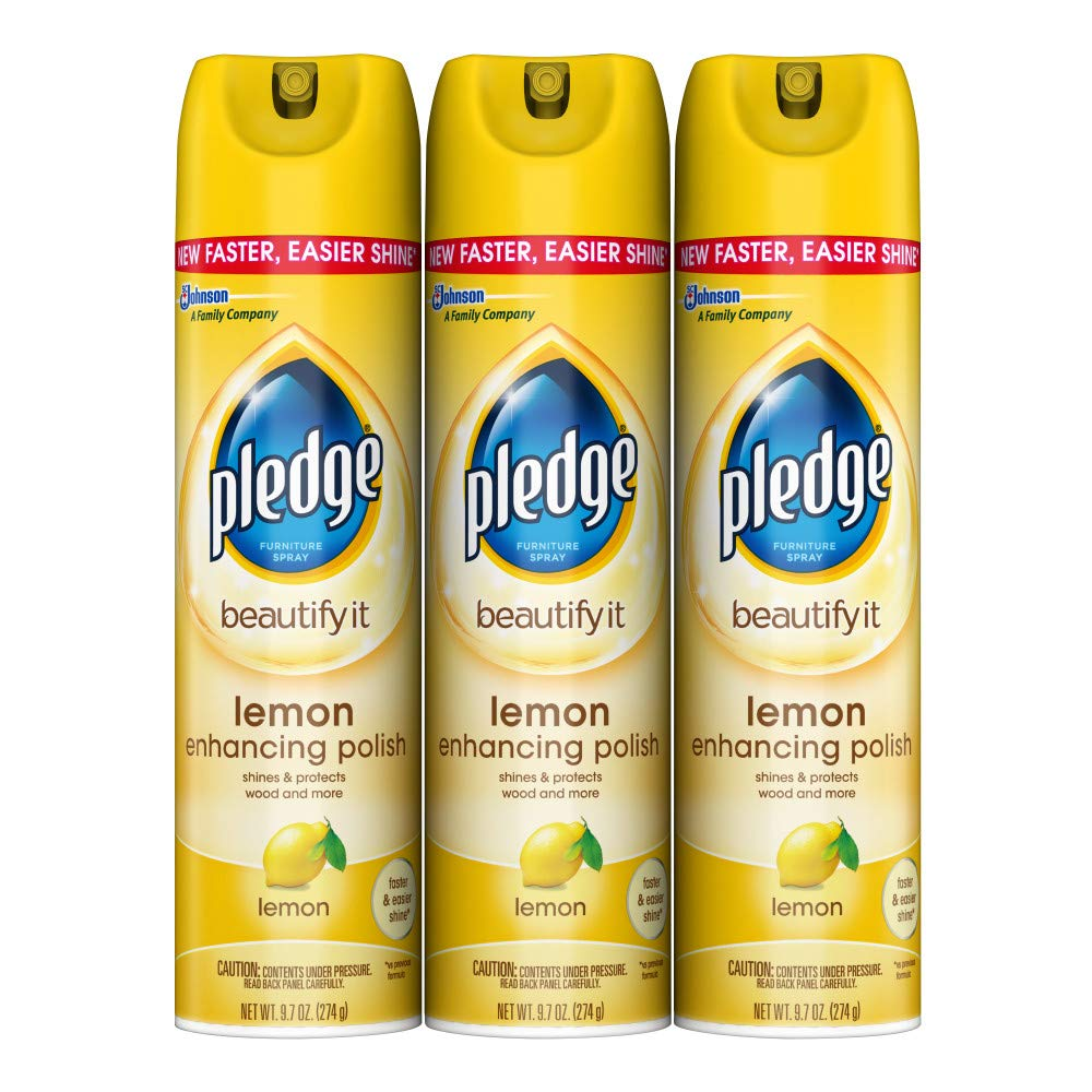 Pledge Multi-Surface Furniture Polish Spray, Works on Wood, Granite, and Leather, Shines and Protects, Lemon, 9.7 oz - Pack of 3