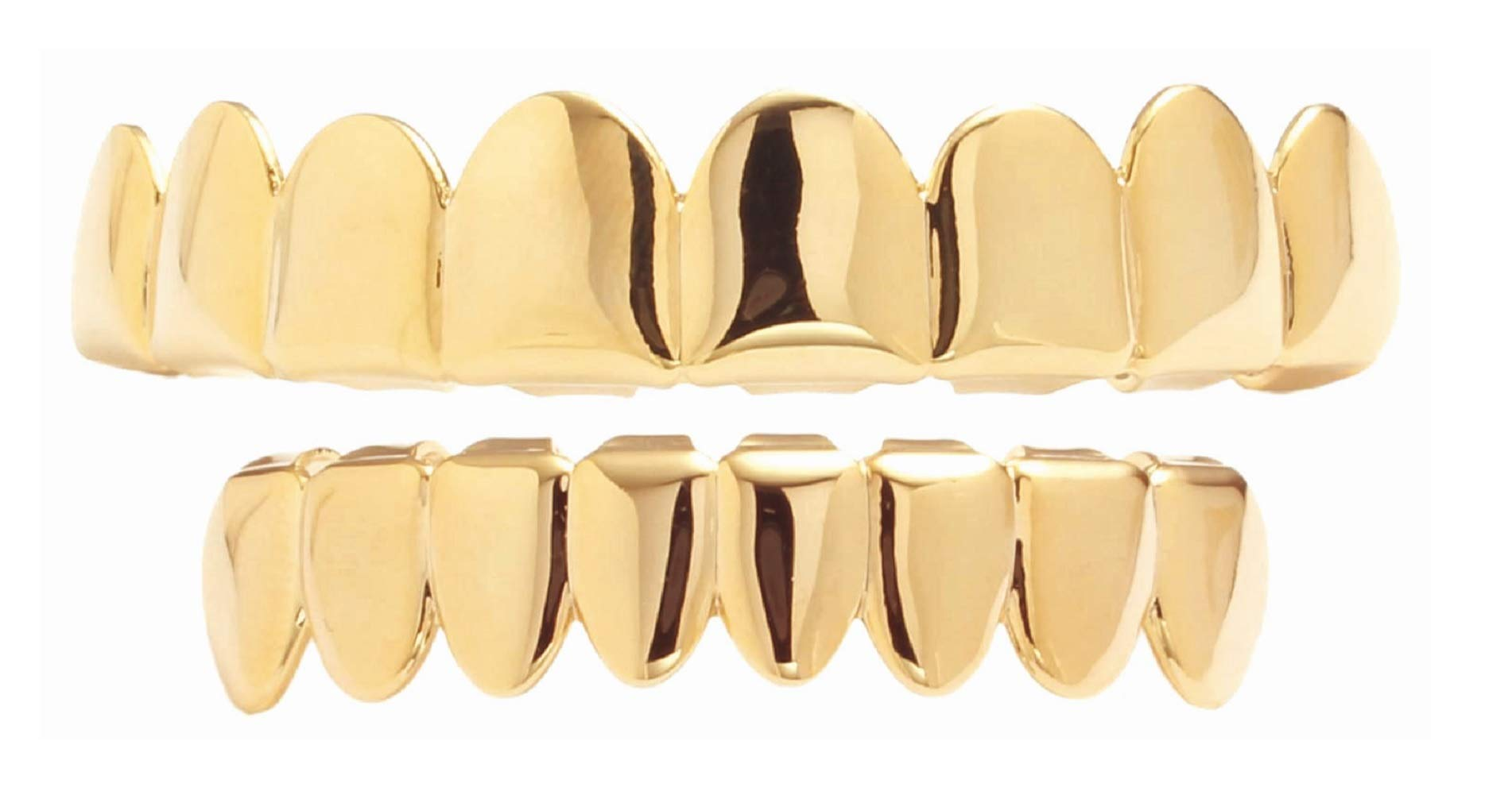 Best Grillz-14k Gold Plated Teeth Grillz for Mouth Top Bottom(Gold) (L801 S801 Set) ... by Best Collection
