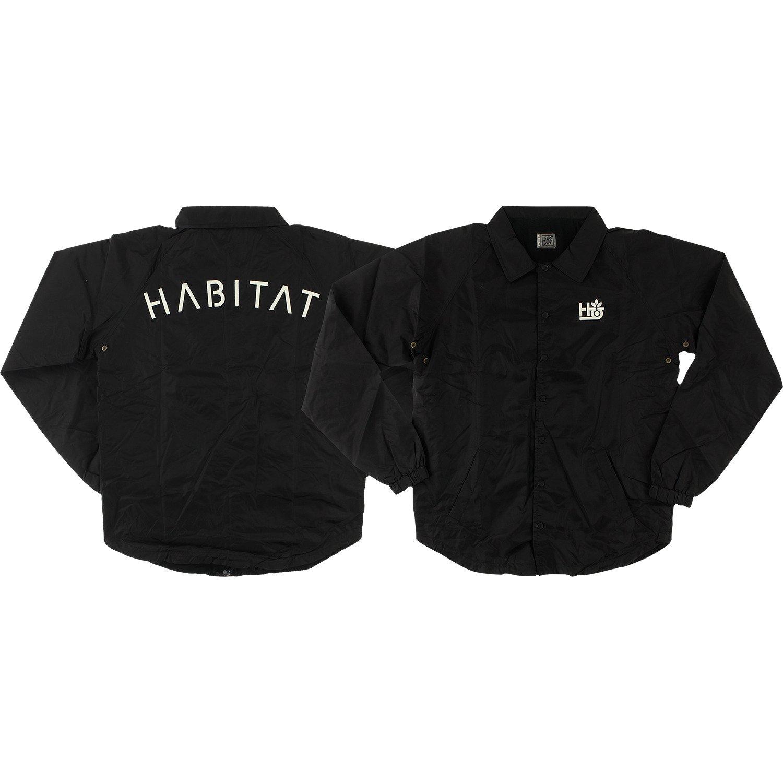 HabitatスケートボードPodステンシルブラックCoachesジャケット – XL B0765BNKZF