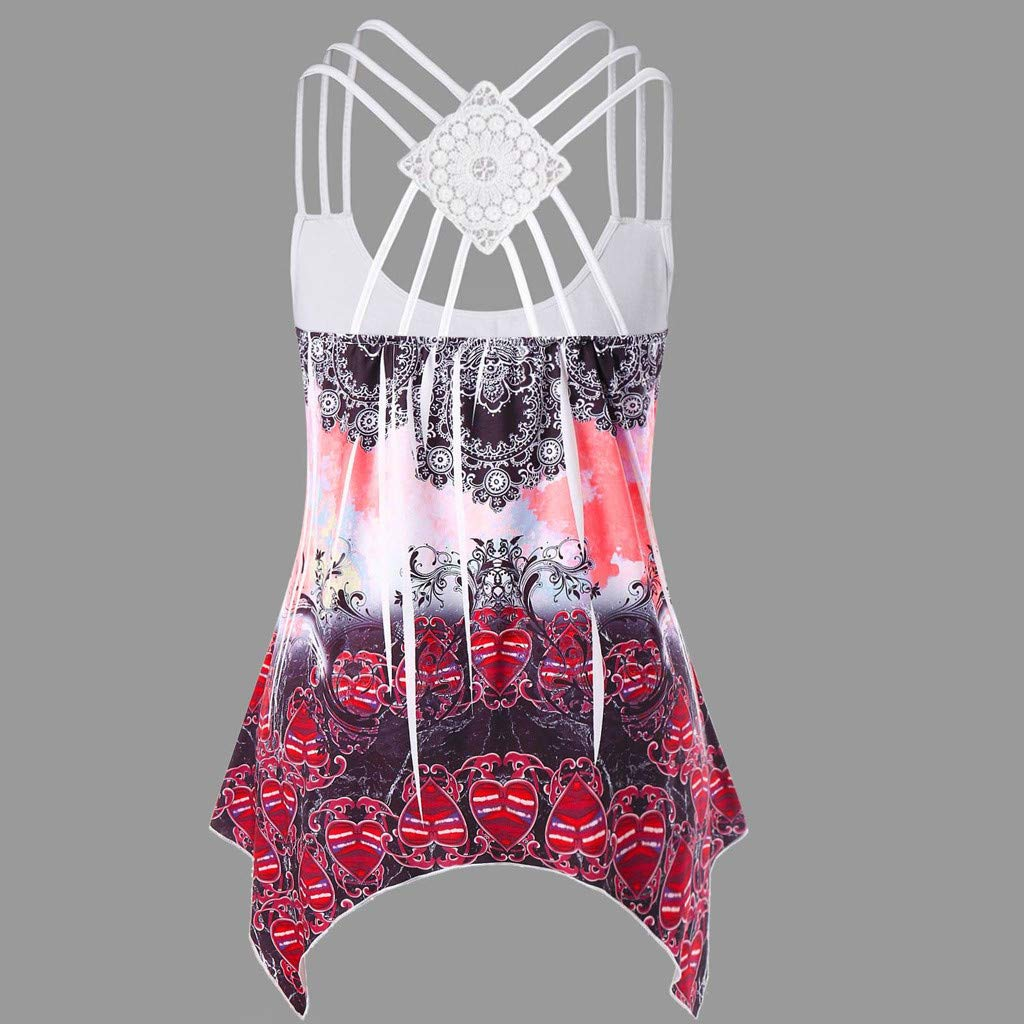 Bohelly Hot New Women Tank Tops Fashion Bandages Sleeveless Vest Lace Strappy Print Tank Tops