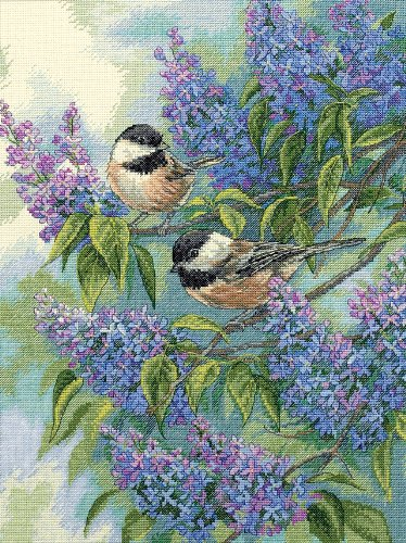 Dimensions 'Chickadees and Lilacs' Counted Cross Stitch Kit, 14 Count Ivory Aida, 12