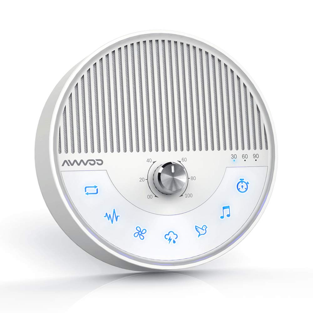 White Noise Machine – AVWOO Nature Sounds Sleep Machine Non-Looping Sound Therapy Machine Sleep Aid with Built-in Battery, Auto Timer and Single Cycle Function for Babies, Kids and Adults