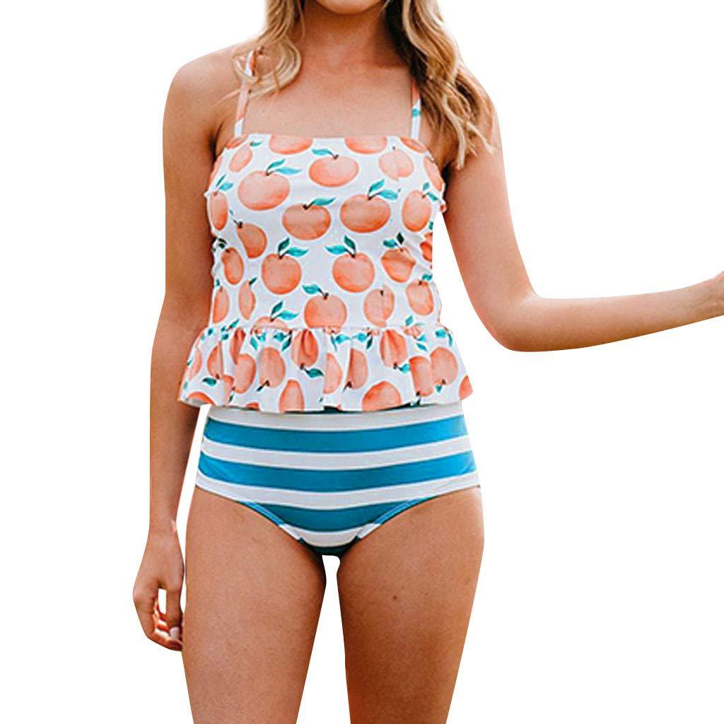 Two Piece Swimwear for Women Floral Print Back Crossover Ruffle High Waist Padded Summer Beachwear Bikini Set (S, Pink) by Frost`nai Women's Swimsuits (Image #1)