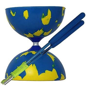 Juggle Dream Di/ábolo Jester y Palos de Control Fibra de Vidrio Color Azul//Amarillo AMPAC-002//BY