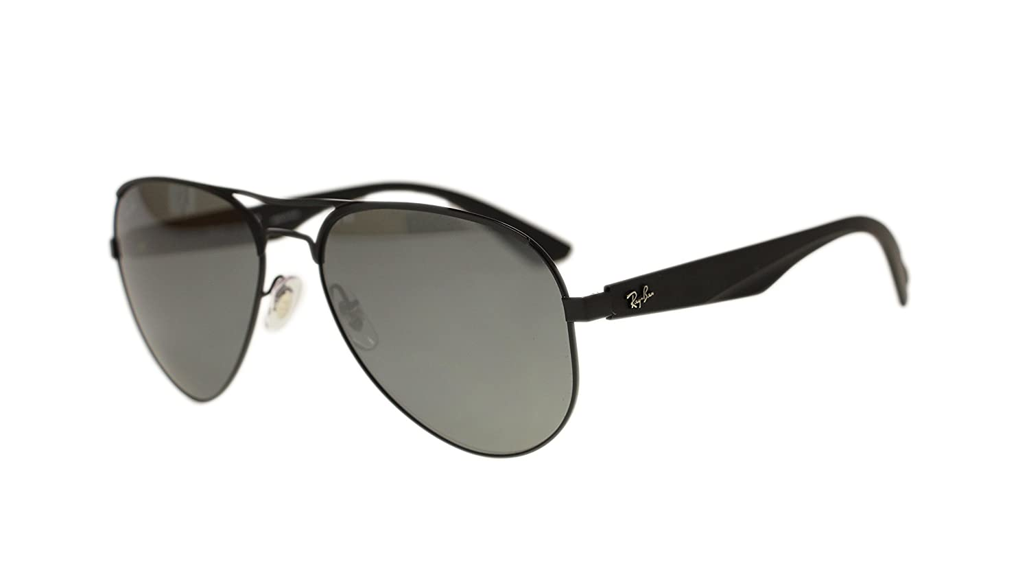 c2d2f13e088 Amazon.com  Ray Ban Mens Sunglasses RB3523 006 6G Matte Black Grey Silver  Mirror Lens 59mm Authentic  Clothing