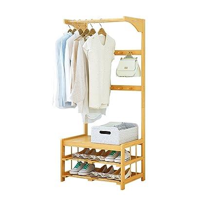 51d420e01 LJYYMJ Perchero Madera Maciza Simple Colgador Banco de Zapatos Aterrizaje Ropa  colgada Dormitorio Baño Dormitorio Sala