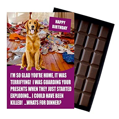 Golden Retriever Birthday Gifts For Pet Owner Or Dog Lover 85 Gram Best Funny Luxury Boxed Belgian Milk Chocolate Bar Present Him Her Note This Is