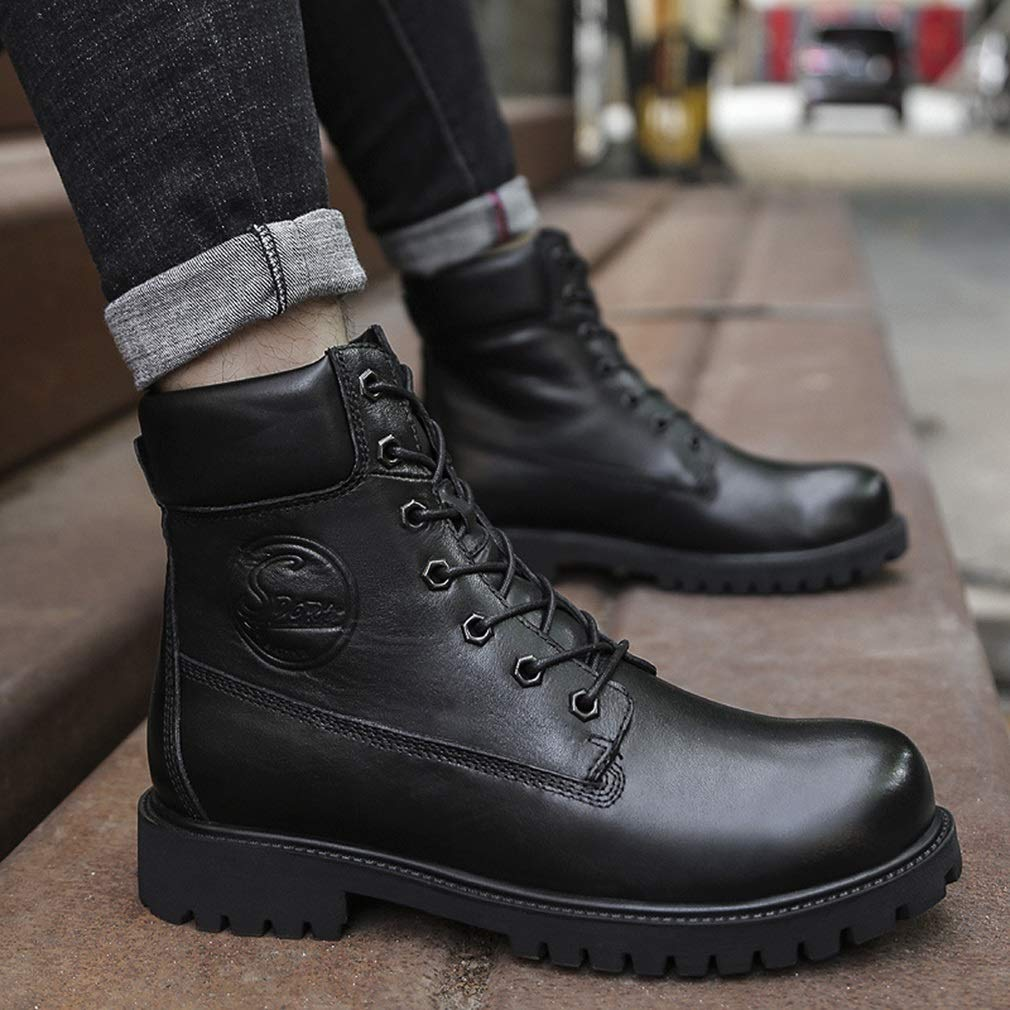 Amazon.com : HEmei Mens Ankle Boots Lace Up Fashion Flat High-top Boots Winter Warm Snow Boots Comfortable Outdoor Casual Walking Leather Shoes (Color ...