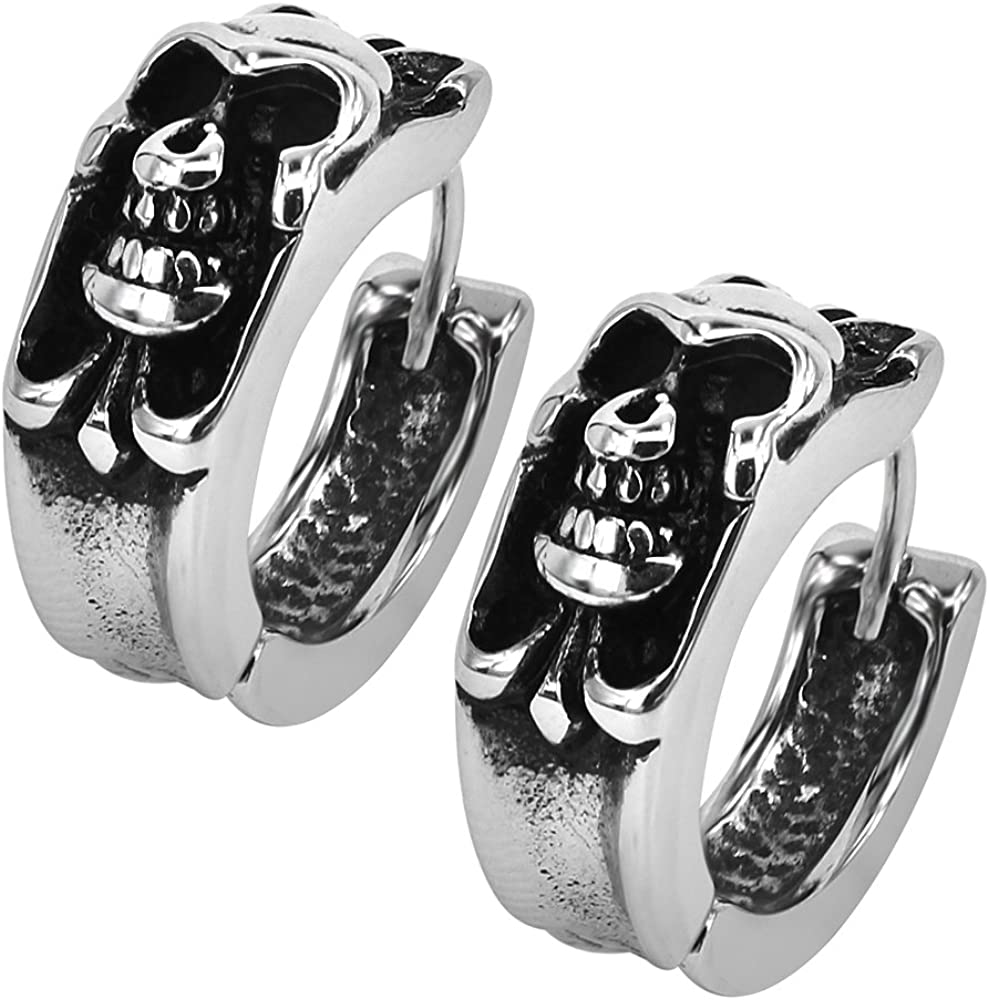 Gothic Skull Hoop Earring Small Stainless Steel Punk Rock huggie Earrings for Men Vintage Jewelry