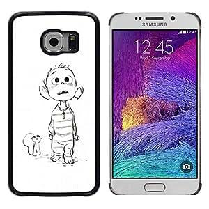 Be Good Phone Accessory // Dura Cáscara cubierta Protectora Caso Carcasa Funda de Protección para Samsung Galaxy S6 EDGE SM-G925 // mouse drawing white sketch boy movie