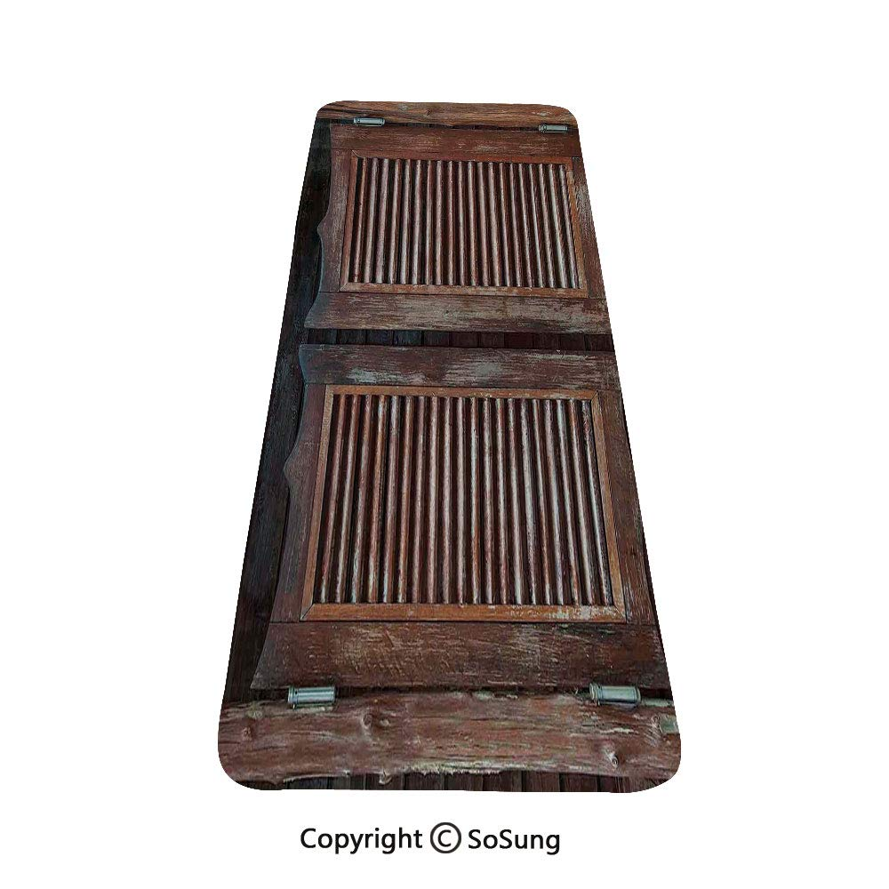 Western Rug Runner,Antique Style Traditional Rustic Wild West Swinging Wooden Cowboy Bar Saloon Door,for Living Room Bedroom Dining Room,4'x 1.3', Dark Brown by SoSung