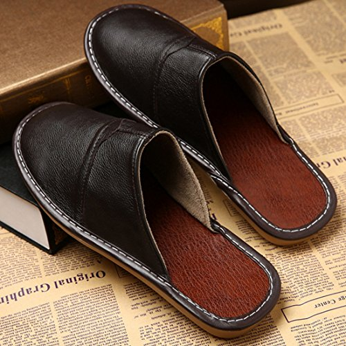 Pocartz Unisex Kwaliteit Echt Leer Huis Slipper Thuis Indoor Platte Sandalen Schoenen Donker Bruin