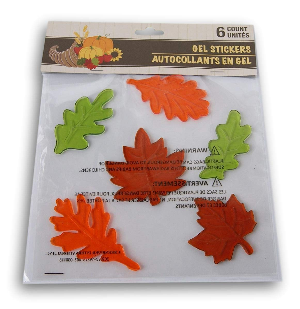 Seasonal Decor Autumn Fall Themed Gel Cling Set - Leaves - 6 Piece Greenbrier International Inc