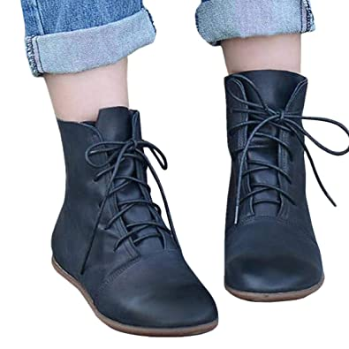 6f201736cfda Outgobuy Women s Lace Up Ankle Boots Low Heel Faux Leather Flat Booties  Shoes (7.5 UK