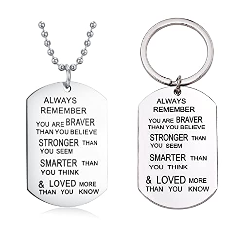 To My Son Always Remember You Are Braver Than You Believe Necklace and Keychain Inspirational Graduation Gift pgOPaiN