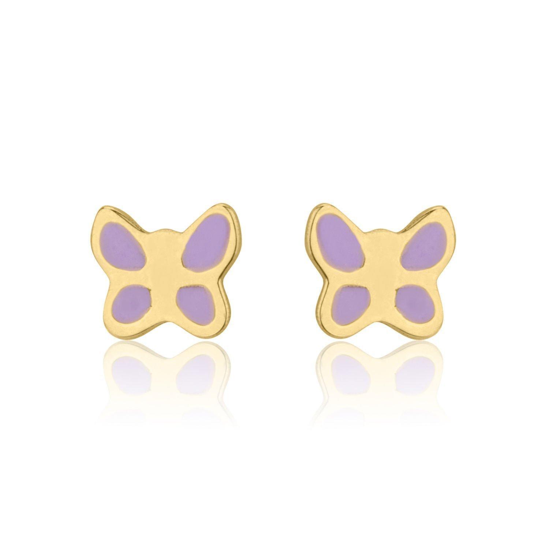 14K Fine Yellow Gold Enamel Butterfly Screw Back Stud Earrings for Girls Kids Gift Children