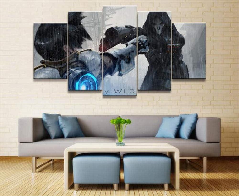 Impresiones sobre Lienzo 5 Paneles Wlop Overwatch OW Reaper Plotter Juego Lienzo Impreso Pintura Sala Pared Arte Decoración (Size_C) Sin Marco: Amazon.es: Hogar