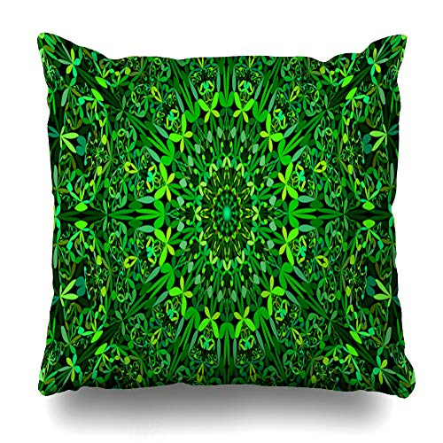 Pandarllin Throw Pillow Cover Graphic Arabic Green Botanical Kaleidoscope Istic Art Boho Circle Circular Flower Design Garden Cushion Case Home Decor Design Square Size 18 x 18 Inches Pillowcase