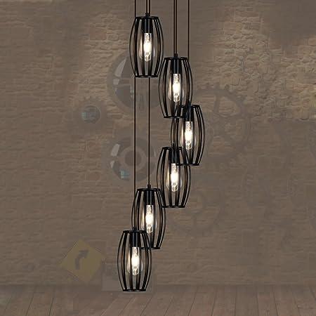 AMOS Lámpara de escalera doble viento industrial LOFT retro jaula de pájaros lámpara colgante escalera de caracol lámpara larga araña (Tamaño : 35 * 150cm): Amazon.es: Hogar