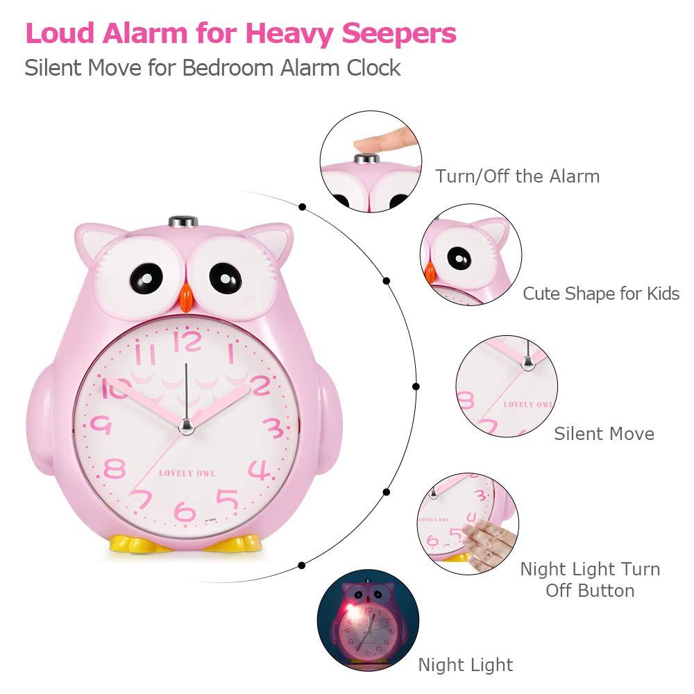 Batterie betrieben Wecker Kinder ohne Ticken Kinderuhr mit nachtlicht Laut Klingeln f/ür Tiefer Schlafen
