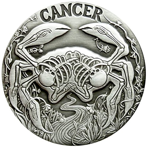 (SkullCoins CANCER - 2015 Memento Mori Zodiac Series #6 - 1 Oz Antique Finish Silver Round - Low Mintage of Only 500 Pieces)