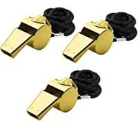 Giveet Metal Whistle with Lanyard Stainless Steel and Durable Extra Loud Referee Coach Whistles for Football Basketball Soccer School Lifeguard Emergency Pack of 3 PCS(Gold)