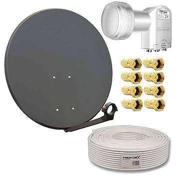 PremiumX - Kit de instalación para TV por satélite (incluye ...