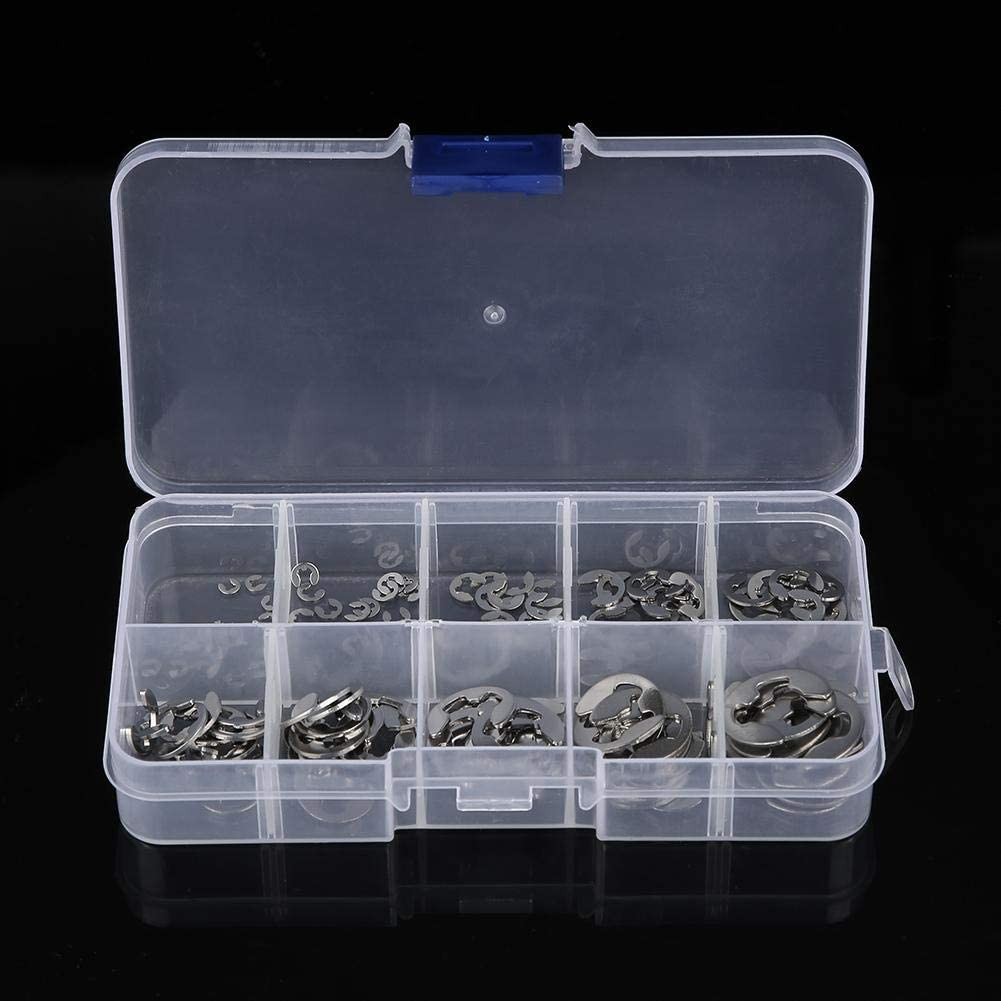 120pcs 1.5mm-10mm Stainless Steel SS304 E-Clip E-ring Shaft Retaining Rings Assortment