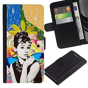 Paccase / Billetera de Cuero Caso del tirón Titular de la tarjeta Carcasa Funda para - Photo Actress Star Hollywood 60'S - Sony Xperia Z1 Compact D5503