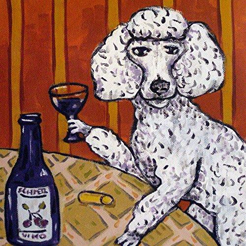 Poodle having a Drink Wine dog art tile coaster gift