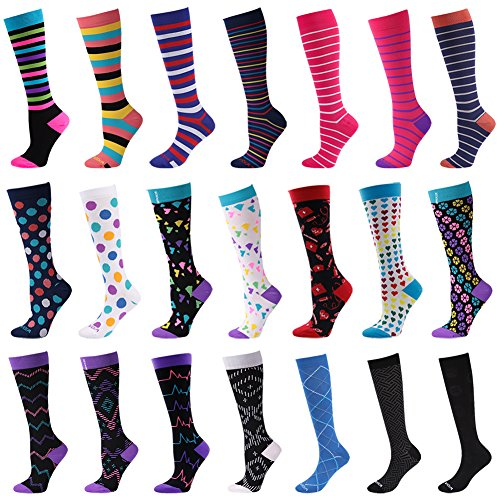 Graduated Compression Socks for Women & Men by WXXM - Best For Running, Athletic Sports, Crossfit, Flight Travel - Suits Nurses, Maternity Pregnancy