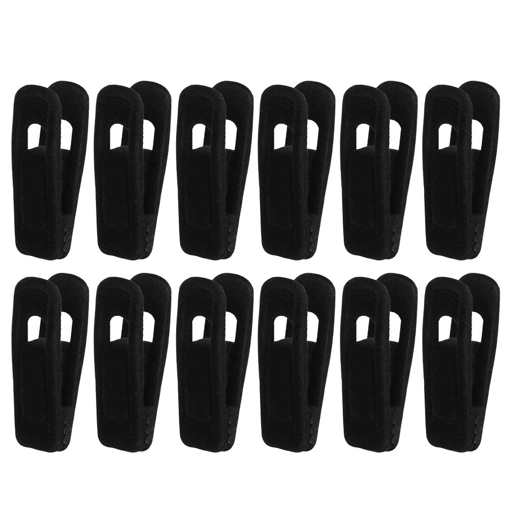 Vankcp 24 Pcs Velvet Hanger Clips, Strong Finger Flocked Clips for Slim-line Clothes Velvet Hangers (Black)