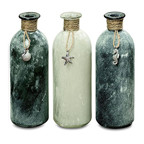 Cheap Whole House Worlds The Shades of Gray Sea Glass Vases, Set of 3 Rope Top, Shell, Starfish, Sea Horse Charm Details, Glass, Rope and Metal, 8 Inches Tall, by WHW
