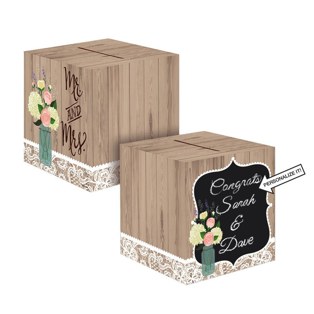 Rustic Wedding Card Box - Vintage Style Wedding - Receiving Box Creative Converting 01252219