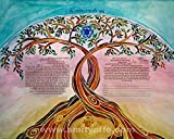 Custom Ketubah - Jewish Wedding Contract - Personalized Ketubah - Jewish Judaica Art - Hebrew English - Linked Trees