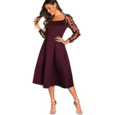 comprar textura clara 100% de satisfacción DIDK - Vestido Plisado con Tul y Mangas de Tul para Mujer, Estilo Vintage